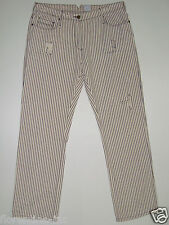 "SASS&BIDE DISTRESSED CREAM&PURPLE STRIPED JEANS 31 ""RIGHT FROM THE START"""