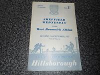 SHEFFIELD WEDNESDAY  v  WEST BROMWICH ALBION  1957/8 ~ SEPTEMBER 14th  FREE POST