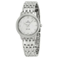 Omega DeVille Prestige Mother of Pearl Diamond Stainless Steel Ladies Watch