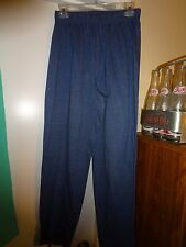 Ladies Blue Elastic Waist Size Medium Cotton Polyester Pants Casual Stretch