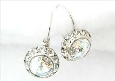 SWAROVSKI ® ELEMENTS-10MM CRYSTAL WHITE PATINA- SILVER PLATED LEVERBACK EARRINGS