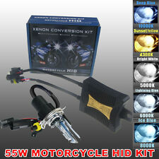 55W H4 Bi Xenon HID Motorcycle Headlight Full Kit Motorbike Hi/Lo Bulb All Color