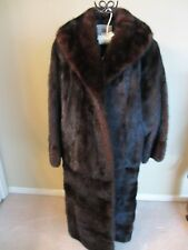 VINTAGE DYED FULL LENGTH BLACK BROWN RANCH MINK BY LLOYDS MEDIUM LINED