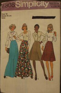 Vintage Retro Simplicity Pattern 7308 - Misses Skirts - Size 16