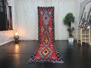 "Handmade Moroccan Vintage Runner Rug 2'6""x11'4"" Geometric Red Berber Cotton Rug"