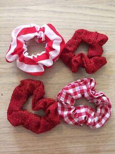 Hair SCRUNCHIES x4, handmade Red designs