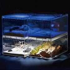 Acrylic Reptile Habitat Setup Aquarium Transparent Tank Kit Lid Bask Turtle Frog