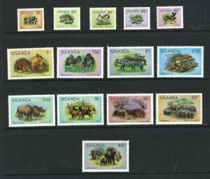 Uganda 1979, Wildlife - Definitive Set of 14 sg303A/16A MNH
