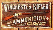 Vintage WINCHESTER RIFLES Metal Sign Gun Tin Wall Art Man Cave Garage Home Decor