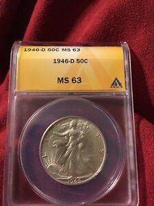 1946 D Walking Liberty Half Dollar ANACS MS 63