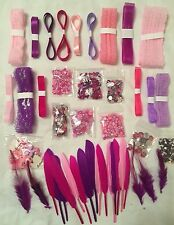 Scrapbooking~Embellishment~Lot~Pink~Purple~Girl~Rhinestone~Lace~Ribbon~Feather++