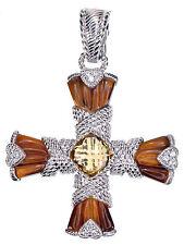 Judith Ripka 1.80 Ct tw Multi Gemstone Sterling Silver Cross Enhancer