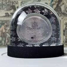 1 Oz Fine Silver Canada Maple Leaf 2020-SWAROVSKI GEMSTONE-glitter snow globe