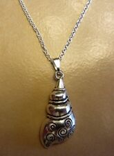 """18"""" 925 Sterling Silver Chain Ocean Conch Sea Shell Pendant Necklace"""