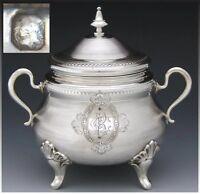 "Antique French Sterling Silver 5.5"" Sugar Casket, Lidded Sugar Bowl,  Guilloche"
