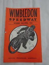 1965 programme- Wimbledon Speedway -motor cycles - v Newport MC