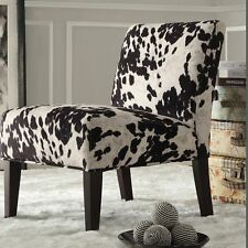 Weston Home Black Cow Hide Lounger Chair, Black