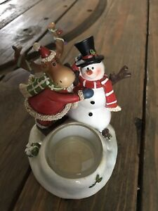 Yankee candle moose and snowman votive holder RARE NIB