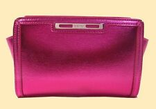 NINE WEST Shine Show Fuchsia  Metallic Leather Wristlet Clutch Bag Msrp $40