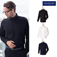 Henbury Men's Long Sleeve Roll Neck Top H020 - Long Sleeve Plain Office T-Shirt