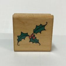 Commotion Rubber Stamp #286 Holly Christmas Leaves Berries 1982 Wood-Mounted