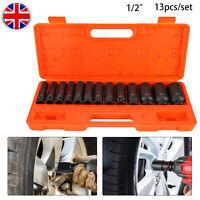 Pneumatic Tools 13pc 1/2 Dr 12pt Deep Impact Sockets Metric 13-32mm Socket Set