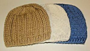 NEWBORN-6 months BABY HATS. Set of THREE. Hand knitted. Blue, White,Taupe/Bone
