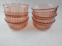 "Vintage Fortecrisa Mexico Pink Depression Glass 5"" Dessert Bowls SET of 6"
