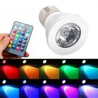 E27/E14 3W RGB LED Spotlight Light Bulb Lamp Dimmable Remote Controller