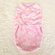 Vitamins Baby Swaddling Blanket Pink White Floral  Hook Loop Snuggly Soft