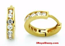 Cz Hoop Huggie Earring / Solid Silver 14k Yellow gold layer Brilliance Round Cut