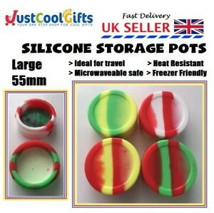 SILICONE POT DAB JAR HEAT RESISTENT DURABLE HOLIDAY STORAGE CONTAINER UK