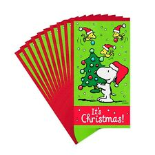Hallmark Christmas Card ~ Peanuts Snoopy Gift Card/Money Holder ~ 10 w/Envelopes