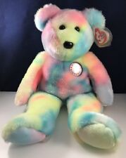 "Ty Beanie Buddy B B Bear Birthday Tye Dye Approx 14"" Nwt Stuffed Toy Plush"