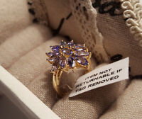 Beautiful AA Tanzanite Cluster Ring in 14k gold overlay Sterling Silver 'O'