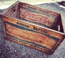 Very Rare Vintage 1940 Dossins's Pepsi Cola 2 Dot Wood Soda Pop Crate Detroit Mi