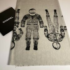 New Authentic Chanel Beige Gray Runway Space Astronaut Print Cashm Scarf/Wrap