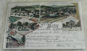 Postkarte Zella-Mehlis ca. 1897 Litho Zella St. Blasii mit Bahnhof, Städt. Bad