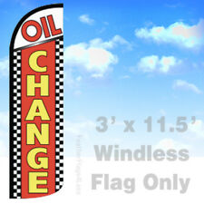 OIL CHANGE - Windless Swooper Flag Feather Banner Sign 3'x11.5' chrq