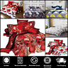 FATHER CHRISTMAS TREE SANTA CLAUS REVERSIBLE PRINT QUILT DUVET COVER BEDDING SET