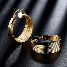 Royal Design Gold Filled Snap Closure Attractive Womens Big Hoop Dangle Earrings