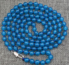 Natural 8mm Ink blue Apatite Round Gemstone Beads Necklace 54 inches AAA