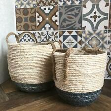 Round Wicker Floor Storage Nesting Basket Vintage Style Hamper Rustic Log Holder