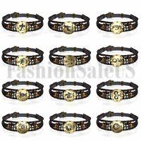 Handmade 12 Constellation Zodiac Round Pendant Leather Bangle Bracelet Chain new