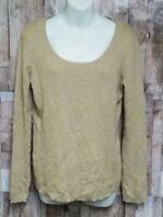 Ann Taylor LOFT Women's Cream 100% Cotton Scoop Neck Long Sleeve Sweater Size L