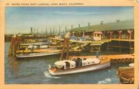 Linen Postcard CA K499 Cancel 1947 United States Navy Landing Long Beach Ships