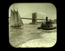 Magic Lantern Slide Tugboat General George Meade & Ship Brooklyn Bridge NYC 1892