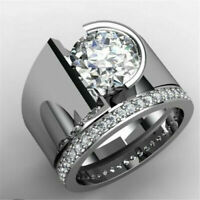 Trendy 925 Silver White Topaz Band Ring Women Wedding Engagement Jewelry Sz 6-10