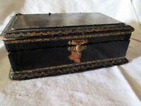 BOITE A COUTURE BIJOUX NAPOLEON III BOIS CUIR ANTIQUE SEWING BOX NAPOLEONIII