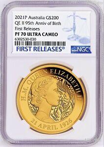 2021 QUEEN ELIZABETH 95th Birthday 2oz .9999 GOLD $200 Proof coin NGC PF70 FR